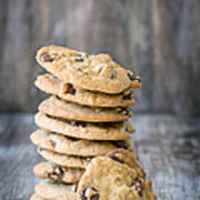 Stack Of Chocolate Chip Cookies With One Leaning Kitchen Art Art Print