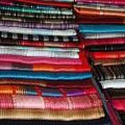 Stacks Of Colorful Shawls Art Print