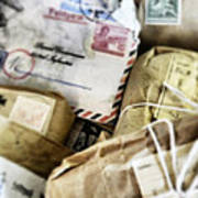 Stacks Of Old Mail Tied Together Art Print
