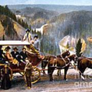 Stagecoach Near Upper Falls Art Print