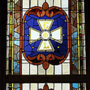 Stained Glass 3 Panel Vertical Composite 01 Art Print by Thomas Woolworth