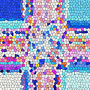 Stained Glass Colorful Cross Art Print