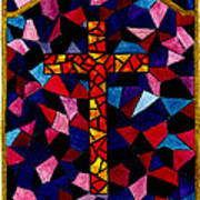 Stained Glass Cross Art Print