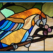 Stained Glass Parrot Window Art Print by Thomas Woolworth