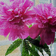 Stained Glass Peonies Art Print