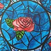 Stained Glass Roses Art Print