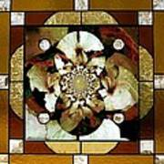 Stained Glass Template Sepia Flora Kalidescope Art Print
