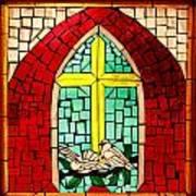 Stained Glass Window At Santuario De Chimayo Art Print