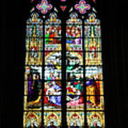 Stained Glass Window In Cologne Art Print