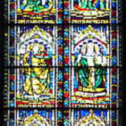 Stained Glass Window Of Santa Maria Del Fiore Church Florence Italy Art Print