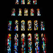 Stained Glass Windows At Basilica Of The Annunciation Print by Eva Kaufman
