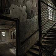 Stairs And Corridor Inside An Abandoned Asylum Art Print by Gary Heller