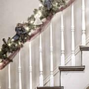 Stairs At Christmas Art Print