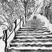 Stairs In Winter Print by Odon Czintos