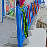 Stairs With Blue Railing In Mykonos Greece Art Print