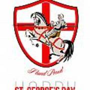 Stand Tall Happy St George Day Retro Poster Art Print