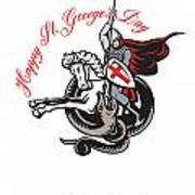 Stand Tall Proud English Happy St George Stand Retro Poster Print by Aloysius Patrimonio