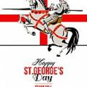 Stand Tall Stand Proud Happy St George Day Retro Poster Art Print by Aloysius Patrimonio