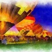 Standbye To Launch Hot Air Balloons Photo Art Art Print