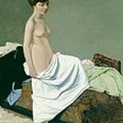 Standing Nude Holding A Gown On Her Knee Art Print