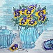 Stangl Pottery And Pansies Art Print