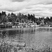 stanley park coal harbour and Vancouver rowing club marina BC Canada Art Print