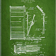 Stanton Bass Drum Patent Drawing From 1904 - Green Art Print