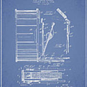 Stanton Bass Drum Patent Drawing From 1904 - Light Blue Art Print