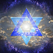 Star Of David And The Milky Way Art Print