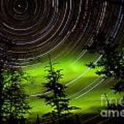 Star Trails And Northern Lights In Sky Over Taiga Art Print