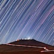 Star Trails Over Cerro Paranal Telescopes Art Print