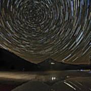 Star Trails Over Mount Hood At Trillium Lake Art Print