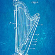 Starke Harp Patent Art 1931 Blueprint Art Print