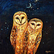 Starlight Owls Art Print by Shijun Munns