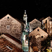 Starry Night Above The Rooftops Of Korcula Art Print