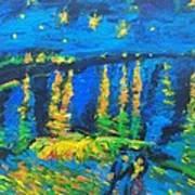 Starry Night Bridge Art Print