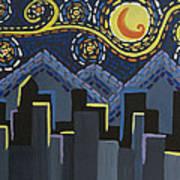 Starry Night Cityscape Art Print