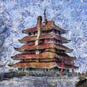 Starry Starry Pagoda Night Art Print