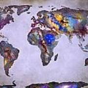 Stars World Map Space Art Print