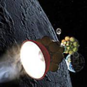 Starship Departing From Lunar Orbit Art Print by Don Dixon
