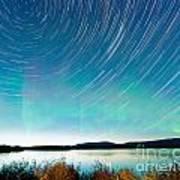 Startrails Aurora Borealis Display Lake Laberge Art Print