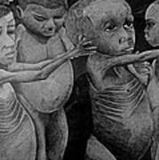 Starving Children Awaiting Relief Food Art Print