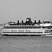 Staten Island Ferry In Black And White Art Print