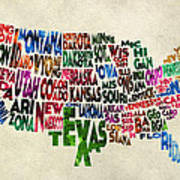 States Of United States Typographic Map - Parchment Style Art Print