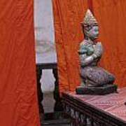 Statue At Wat Phnom Penh Cambodia Art Print