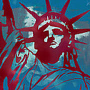 Statue Liberty - Pop Stylised Art Poster Art Print by Kim Wang