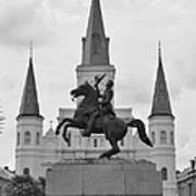 Statue Of Andrew Jackson In Black And White Art Print
