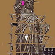 Statue Of Liberty Being Built 1876-1881 Paris Collage Pierre Petit                     Art Print