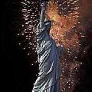 Statue Of Liberty Fireworks Art Print