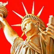 S T A T U E . O F . L I B E R T Y .  In Red Art Print